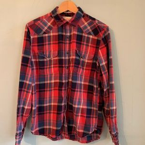 Lucky Brand western plaid pearl button flannel